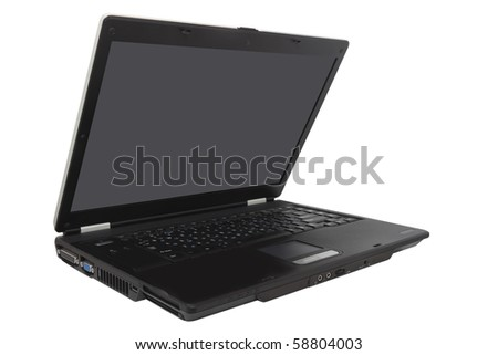 black laptop isolated  on a white background - stock photo