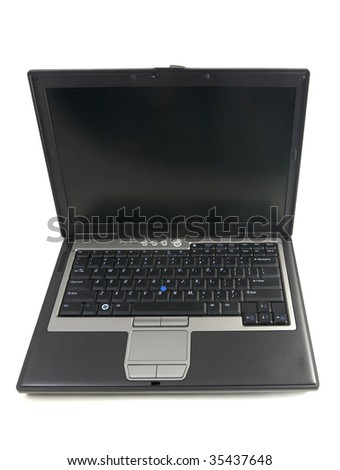 Black laptop isolated on white background.