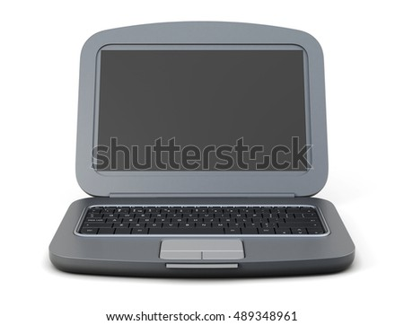 Black laptop isolated on white background. 3d rendering.