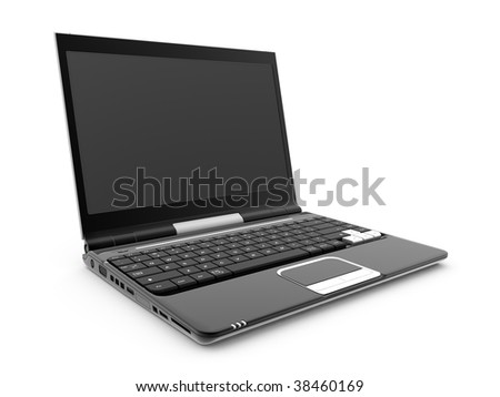 Black laptop on a white background