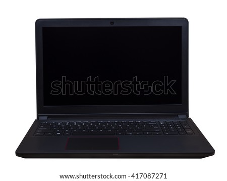 Black laptop on isolated / white background with clipping path (Business object)
