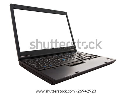 Black laptop open with a blank screen ready for text, images or anything else.