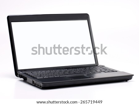 Black Laptop with Blank Screen isolated on White Background. Real Shadow. Front View with Copy Space for Text or Image - stock photo