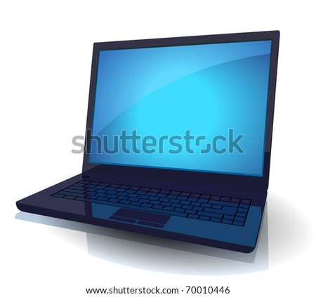 Black laptop with blue screen. Raster version. Vector version is also available.
