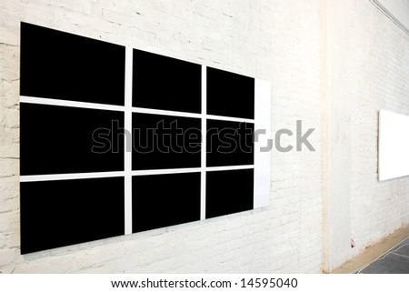 Black large frame and small white frame - stock photo