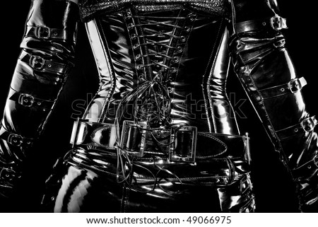black latex corset, back view, high gloss - stock photo