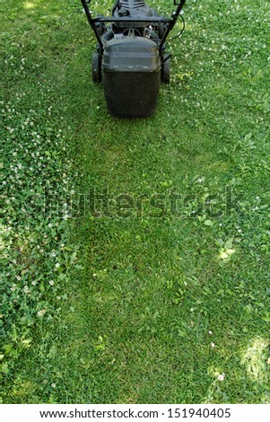 Black lawnmower in the garden lawn the grass with fuel engine - stock photo