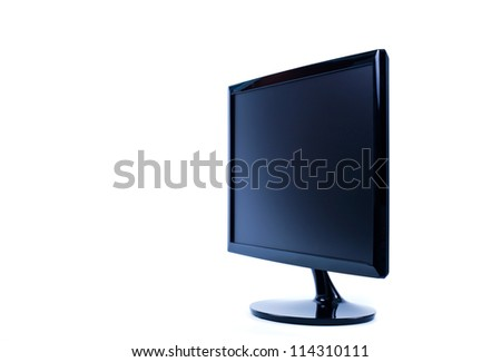 black LCD monitor isolated on white background - stock photo