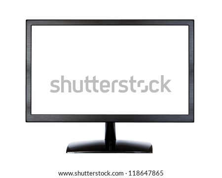 Black LCD monitor isolated on white background