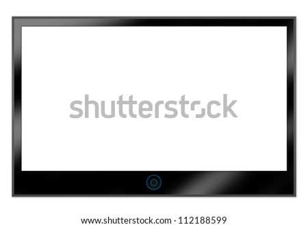 Black LCD Plasma TV Screen Hanging on a White Wall With Some Space for Text Message Isolated on White Background - stock photo