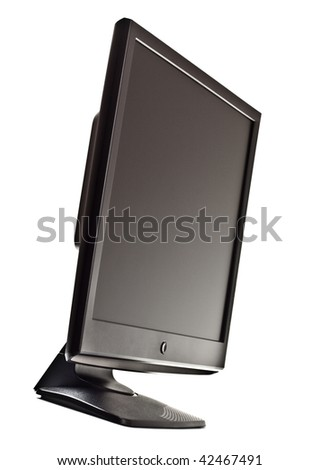 black lcd screen isolated on white - stock photo