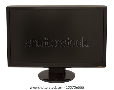 Black 20'' LCD screen isolated on white background.