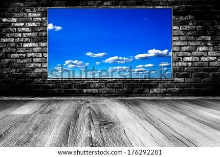black lcd tv screen - stock photo