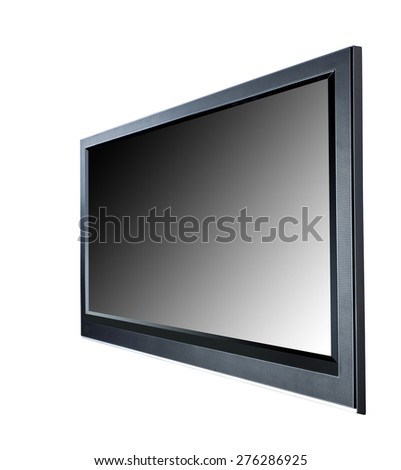 Black LCD tv screen - stock photo