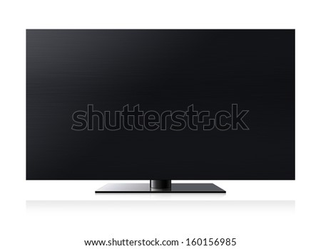 Black LCD tv screen hanging on a wall .  (with clipping work path) - stock photo