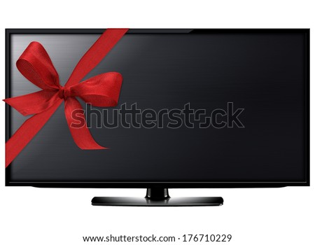 Black LCD tv screen hanging on a wall with red ribbon.  (with clipping work path) - stock photo