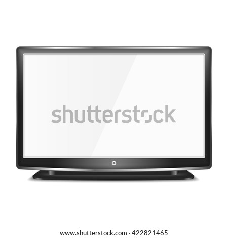 Black LCD TV screen on white background - stock photo