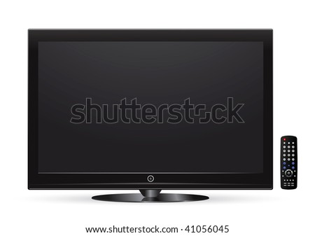 black lcd tv with remote control