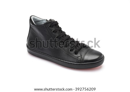 Black leather ankle boots with laces for children