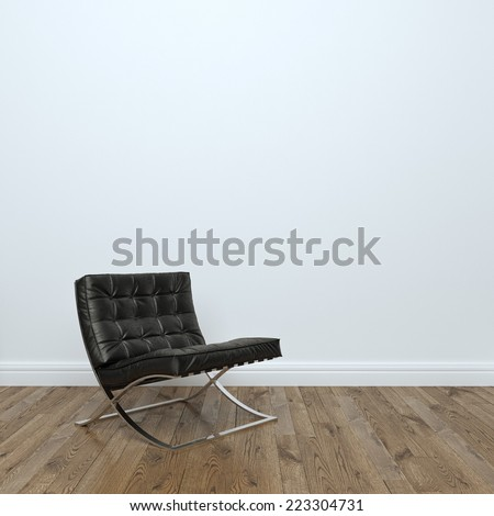 Black Leather Armchair In Empty Interior Room  - stock photo