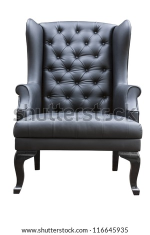black leather armchair isolated on white. - stock photo