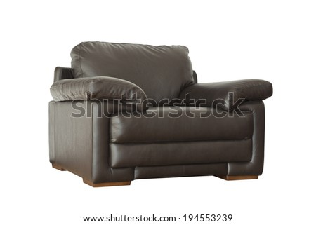 Black leather armchair isolated on white background with clipping paths - stock photo