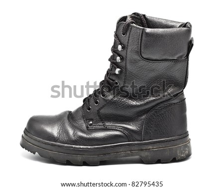 Black Leather Army Boot - stock photo