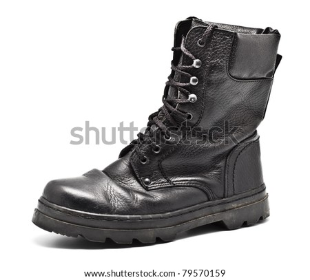 black leather army boot isolated on white - stock photo