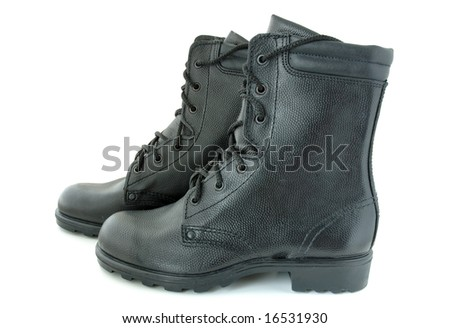 Black leather army boots.