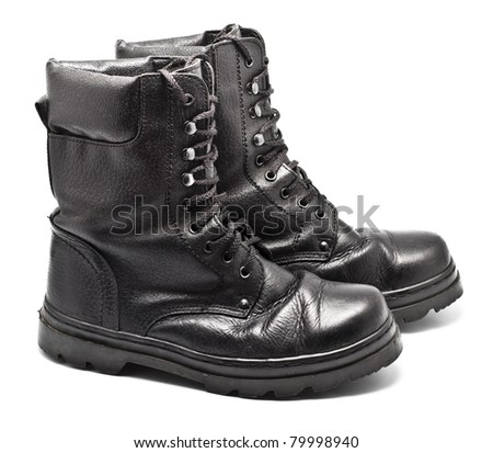 black leather army boots isolated on white - stock photo