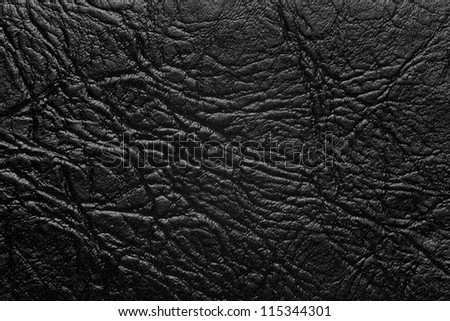 black leather background, rough pattern crumpled texture - stock photo