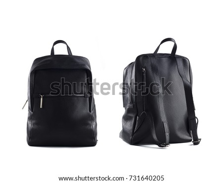 black leather backpack isolated on white background