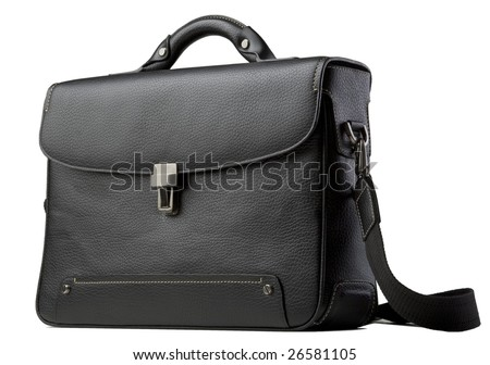 black leather bag - stock photo