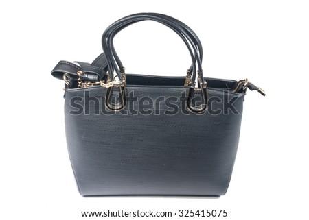 Black Leather Bag - stock photo