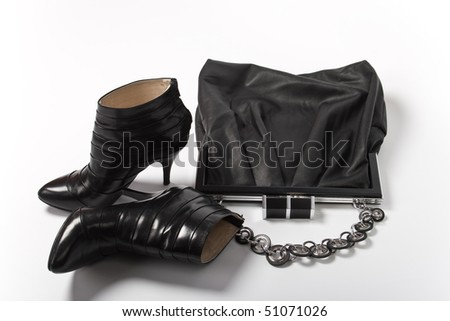 Black Leather Bag and shoes - stock photo