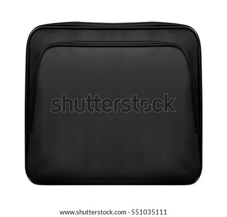 Black leather bag for laptop isolated
