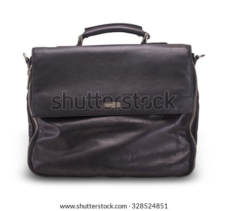 Black leather bag for office