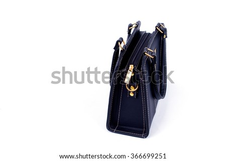 black leather bag isolated on a white background - stock photo