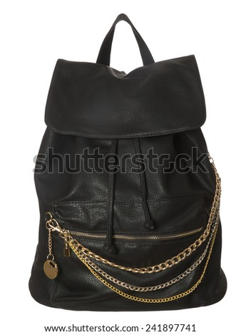 Black Leather Bag isolated on white background - stock photo