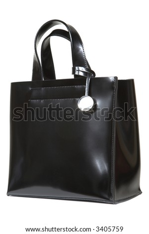 Black leather bag with a metal medallion