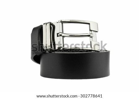 Black Leather belt for men isolated on white background. Men fashion. Men accessories.  - stock photo