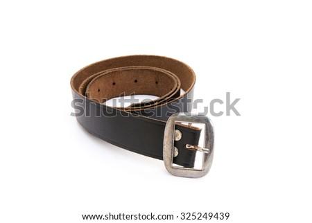 Black leather belt isolated - stock photo