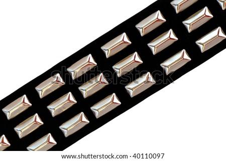 Black Leather Belt with Chrome Studs - stock photo
