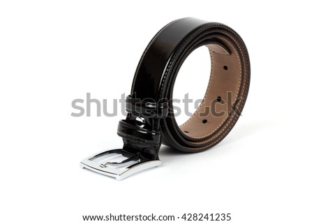 Black leather belts for men on a white background