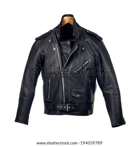 Black leather biker jacket - stock photo