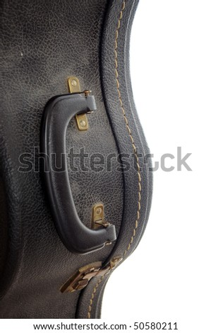 Black leather blank classical guitar case isolated on white background - stock photo