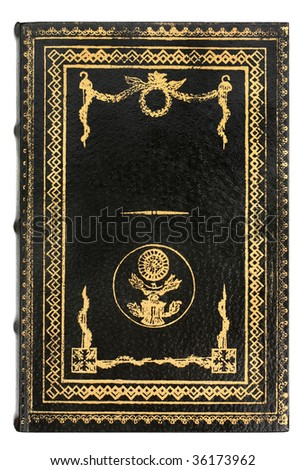 black leather Book cover with gold frame - stock photo