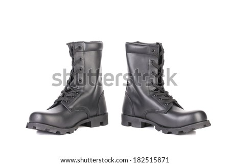 Black leather boots. Isolated on a white background. - stock photo
