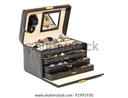 Black leather box for cosmetic or jewelery on white background