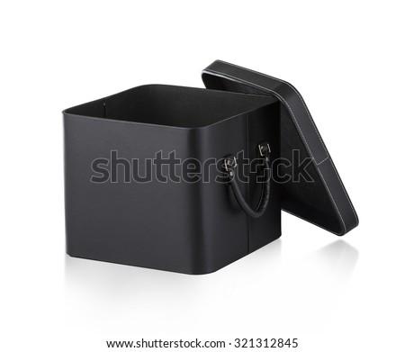 Black leather box isolated on white background - stock photo